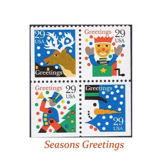 Us Postage Christmas 2021 Stamps 29c Christmas Greetings Block Of 4 Stamps Vintage Unused Us Etsy In 2021 Postage Stamps Usa Vintage Postage Stamps Christmas Greetings