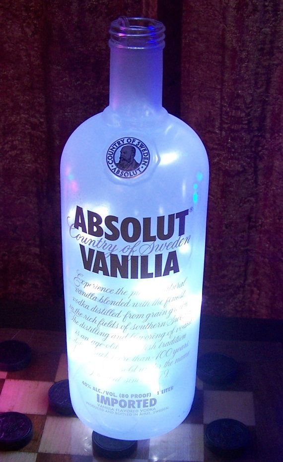 20 LED String Lighted Liquor Bottle ~ Clear  Absolut Vanilla Vodka ~ Battery Operated
