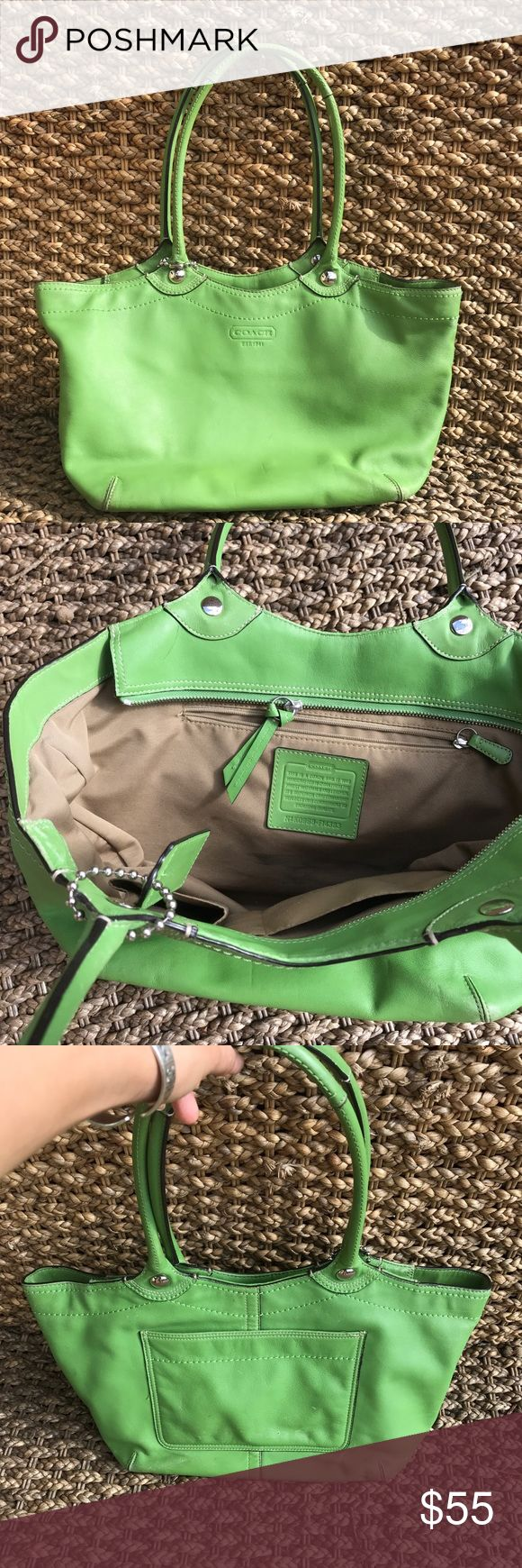 Coach Shoulder Bag Authentic apple green shoulder bag from coach, little wear on the back of the bag but not noticeable. Other than that all is perfect. Price is firm Coach Bags Shoulder Bags
