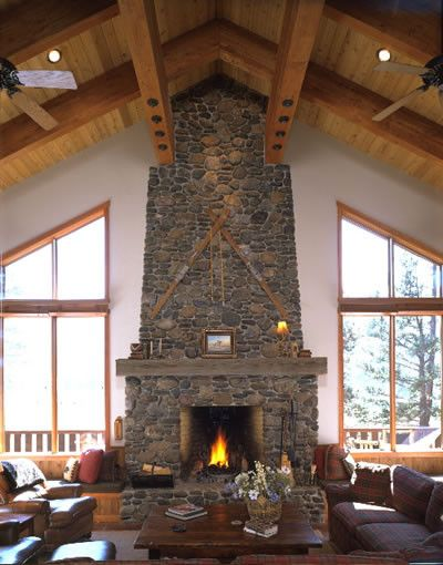 Traditional living room fireplace open floor plan lodge - Lodge living room decorating ideas ...