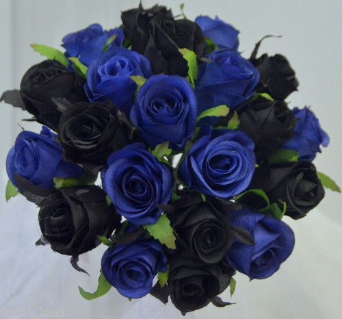 Details About Silk Wedding Bouquet Blue Black Roses Pre Made Posy Rose Artificial Flowers