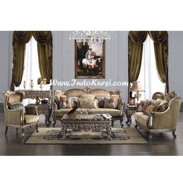JualKursi Sofa Tamu Ukiran Jeparaproduk Mebel Indo Kursi Jepara dengan desain Kursi Ruang Tamu Mewah yang di Ukir Khas Jepara dengan Warna Cat Silver Yang Cantik