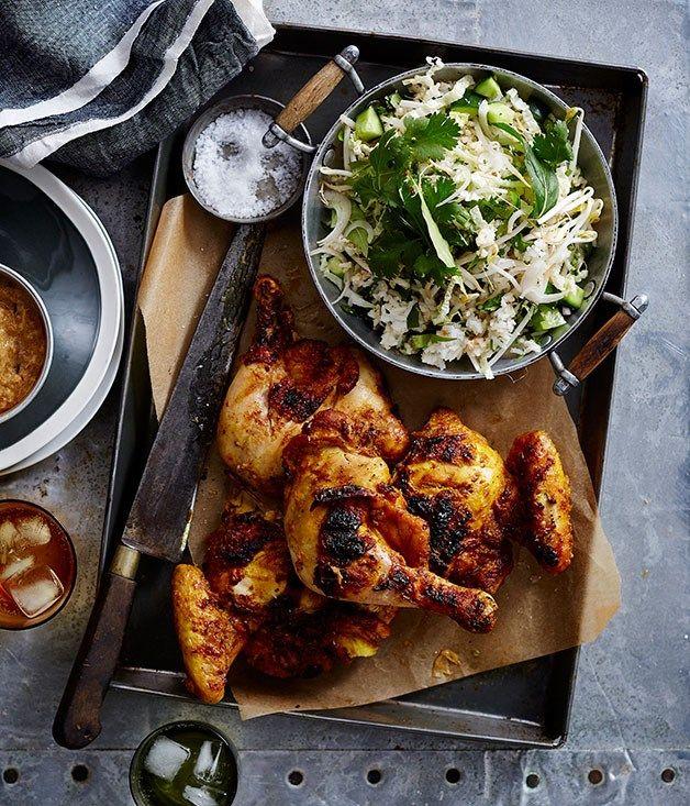 Malaysian barbecued chicken with kerabu rice salad recipe, Tony Tan :: Gourmet Traveller