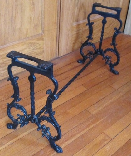 Antique Victorian Cast Iron Table Bench Stool Legs Base Lion Paw Feet Piano Desk Antiques