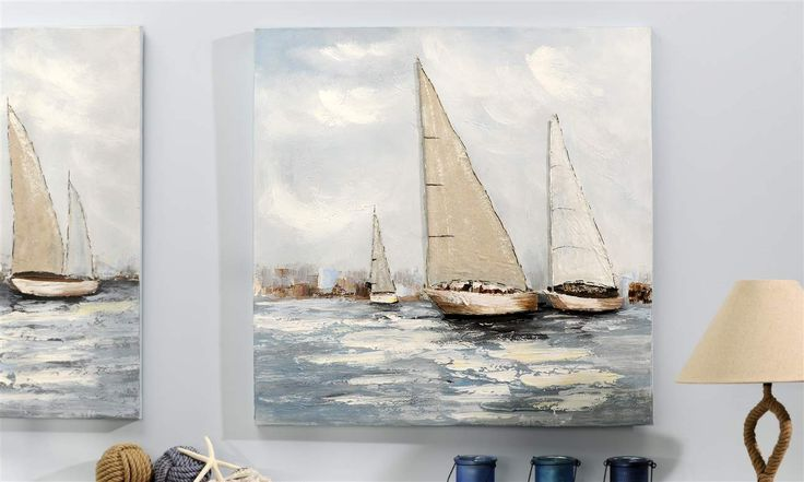 Oil Painting on Canvas Wall Decor, Sail Boats 32 x 32