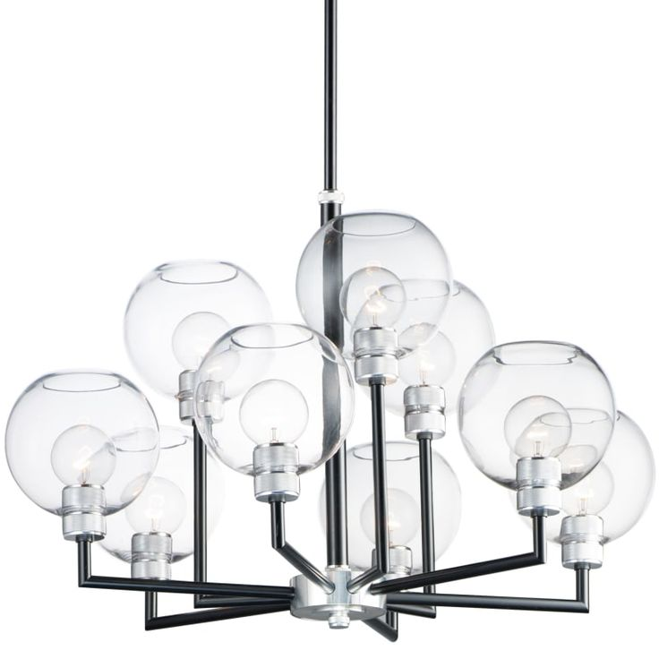 Maxim 21616clbkal Black Brushed Aluminum Clear Glass Vessel 9 Light 31 Wide Chandelier With Hand Blown Glass Shades Hand Blown Glass Chandelier Hand Blown Glass Glass Shades