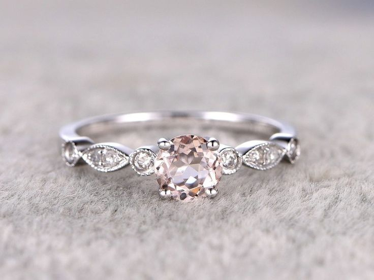 Beautiful 1.25 Carat Round cut Morganite and Diamond Engagement Ring in White Gold – savanna vail