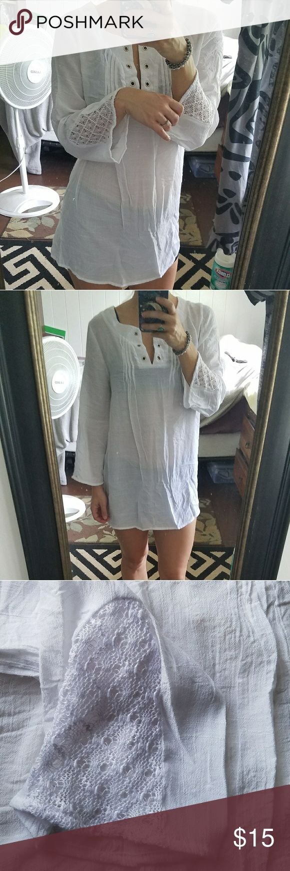 White, sheer, cover up, tunic, uniquely designed V-neck, split neck, with silver accents, crocheted sleeves, boho chic, dress or shirt depending on the figure, comfortable, cozy, dress up or down, swimwear, beachwear, long sleeves Hannah Tops Tunics