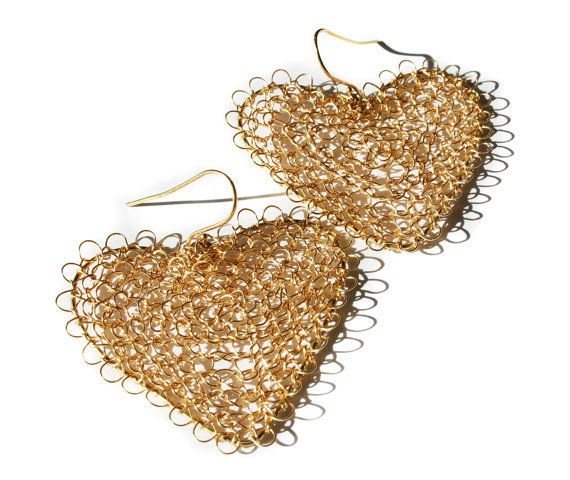 Large #crochet gold heart earrings. Perfect valentines day gift.  The earrings are crocheted with a tiny crochet hook and fine wire.  They are about 5cm long. The heart is a... #handmade #jewelry #boho #etsy #epiconetsy #shopping #shopsmall #jewelryonetsy #etsyseller