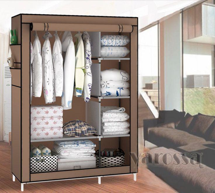 Portable Wardrobe Closet Canvas Clothes Storage
