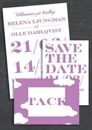 "PAKET: ""WHEN I FALL IN LOVE"" LILA; SAVE THE DATE, INBJUDAN & TACKKORT (VÄRDE 507 SEK)"