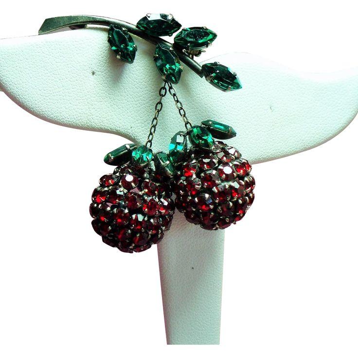 Vintage Austria Red Rhinestone Dangling Fruit Brooch