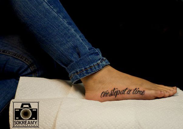 'one step at a time': Tattoo Ideas, One Step At A Time Tattoo, Tattoo Numbers, Foot Tattoo, Feet Tattoo, Tattoo 3, Tattoo Forever, Birthday Tattoo, Cute Tattoo