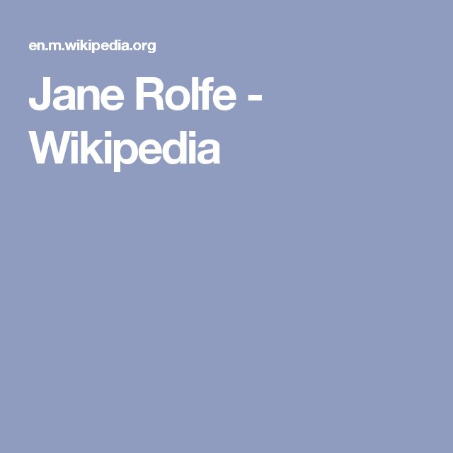Jane Rolfe - Wikipedia