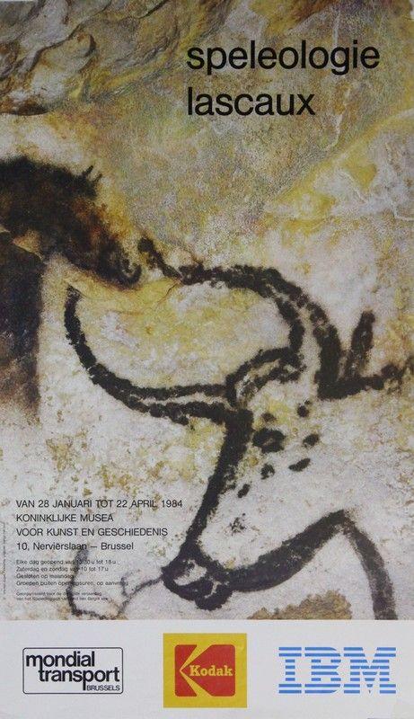 Affiche Tentoonstelling Speleologie Lascaux. Van 28 januari tot 22 april 1984, Koninklijke Musea voor kunst en Geschiedenis Brussel. Georganiseerd voor de dertigste verjaardag van het Speleologisch Verbond van België
