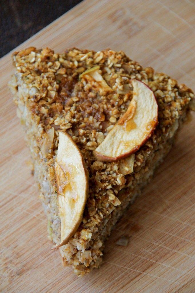 Baked Apple Pumpkin Oatmeal Breakfast Pie Gluten Free #breakfast #recipes