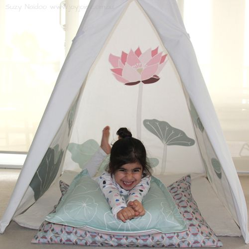 Sacred Lotus Teepee with coordinating Leaf cushion and patterned pillowcase