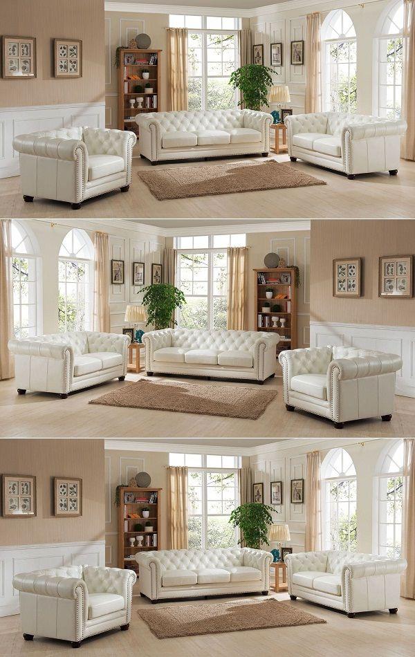3 Piece White Leather Sofa Set 2019