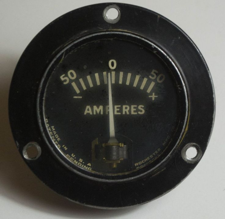 Vintage Rochester Mfg. Amperes Battery Charge Discharge 50 Amp Gauge #ROCHESTER