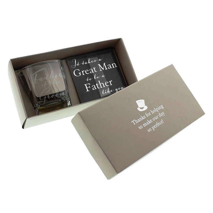 Father of the Groom Whisky Glass and Coaster Gift Set