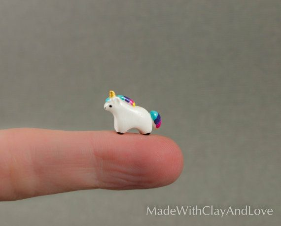 Micro Unicorn  Terrarium Figurine Hand by MadeWithClayAndLove - -  this is obscenely adorable.  Just beyond words.