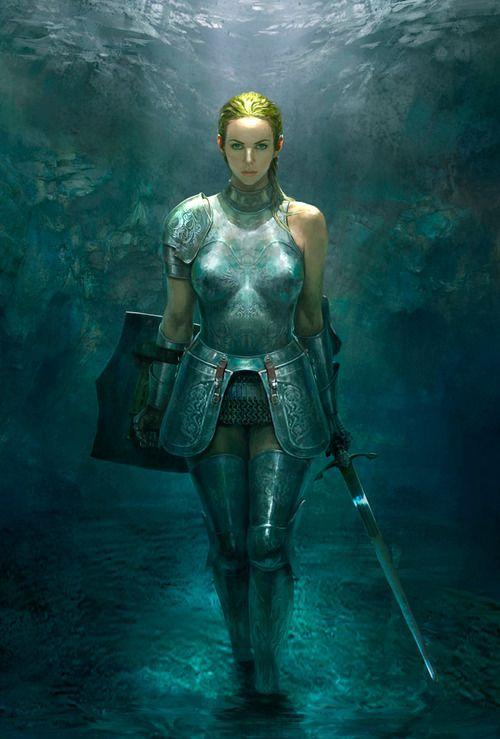 Female warrior concept art by Jiwon Pang -- AU Fem!Steve Rogers