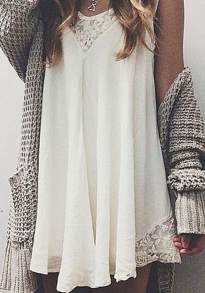 Split Away Lace Dress with chunky cardigan