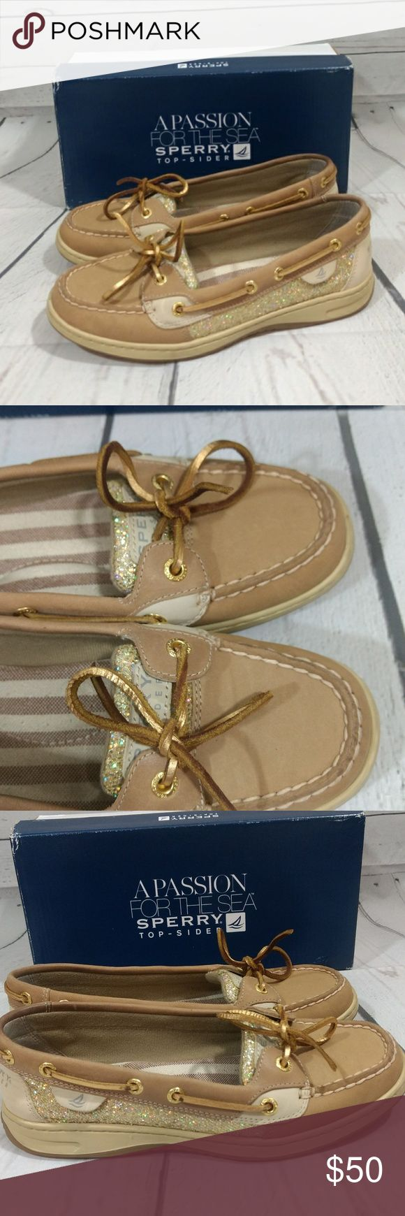 Sperry TopSider Angelfish Multi Gold Khaki Glitter New with box, but please note slight defect around the back of the shoes as shown. These were a store display.   Women's Sperry, Angelfish Signature Bluefish Styling but with a Feminine Twist Genuine Handsewn Construction Padded Tongue Stain and Water Resistant Leather is Durable and long lasting Sperry Shoes Flats & Loafers