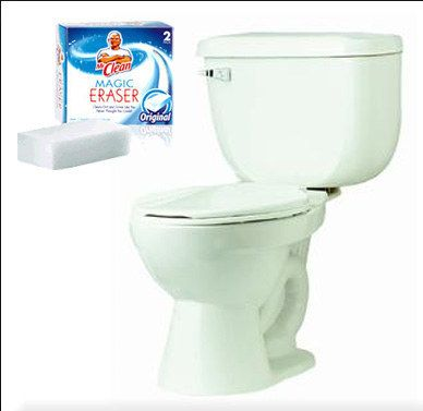 Snip off a slice of a Magic Eraser and drop it in the toilet. | 37 Deep Cleaning Tips Every Obsessive Clean Freak Should Know