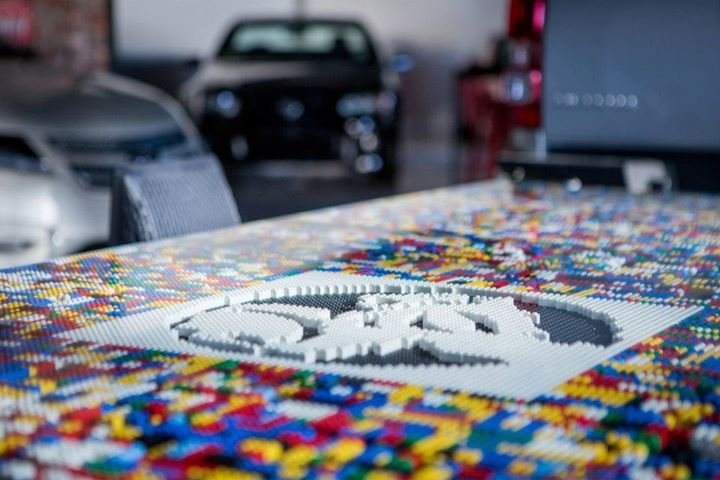 The boardroom table is made using approx 20,000 pieces of lego! | Johnston Ebbett Motors (166 Taranaki Street, Wellington) | Photo by the talented Jeremy Toth | Fit out by Material Creative.