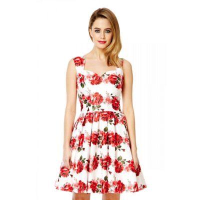 Quiz White satin rose print prom dress- at Debenhams.com