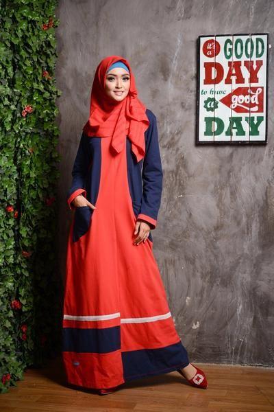 Baju Longdress Gamis ALNITA AG-15 Merah Cabe
