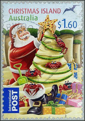 $1.60c Christmas themed postage stamp from Christmas Island, Australia 2012