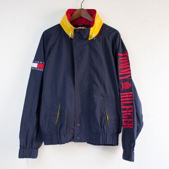 jacket l vintage jackets navy blue red yellow tommy hilfiger. Black Bedroom Furniture Sets. Home Design Ideas
