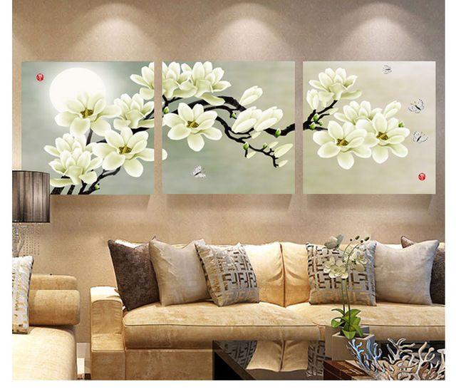 3 Painel Abstrata Moderna da Pintura da Flor Na Lona Arte Da Parede Flores Imagem Cuadros Home Decor Para Sala de estar Sem Moldura