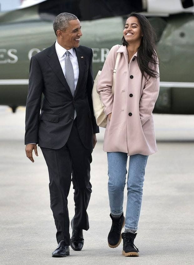 President Obama and daughter Malia in San Francisco April, 2016