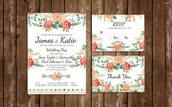 Lovely Watercolor Wedding Invitation by JeanBalogh on Etsy