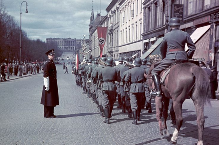 German Wehrmacht parade through Oslo, Norway. 1941.