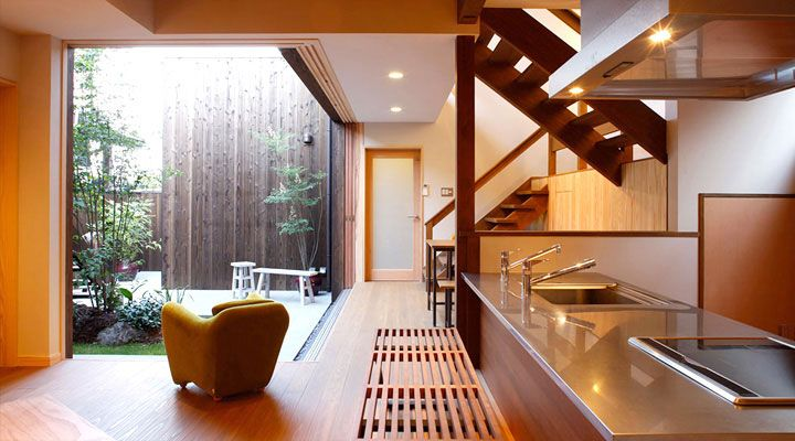 Zen Kitchen and Courtyard Design with Wooden Furniture Set