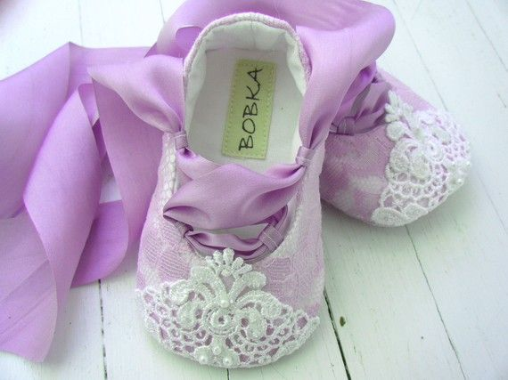 Baby Girl Fairytale Princess Lavender Lace Ballet flats by BobkaBaby