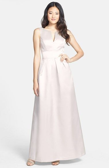 Alfred Sung Notched Neck Sateen Twill Gown - Pale Blush Pink Bridesmaid Dress