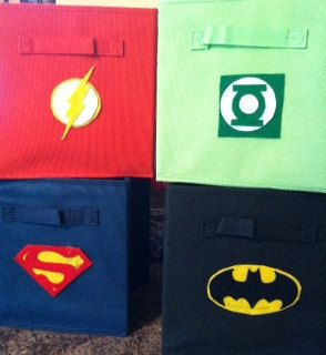 Superhero Logos for Storage Bins Set of 4 by InklingsStudio, $25.00 - LOVE!