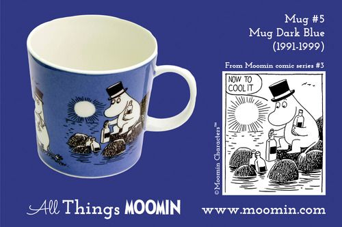 Moomin mug #5 by Arabia Mug #5 - Dark Blue Produced: 1991-1999 Illustrated by Tove Slotte and manufactured by Arabia. The original comic strip can be found in Moomin comic album #3.