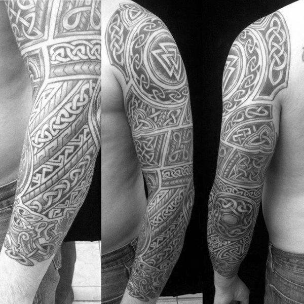 Amazing Celtic Knot Mens Full Sleeve Tattoo Design Isnpiration