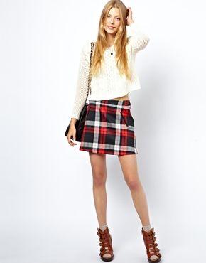 ASOS A-Line Scuba Skirt in Tartan Check Print