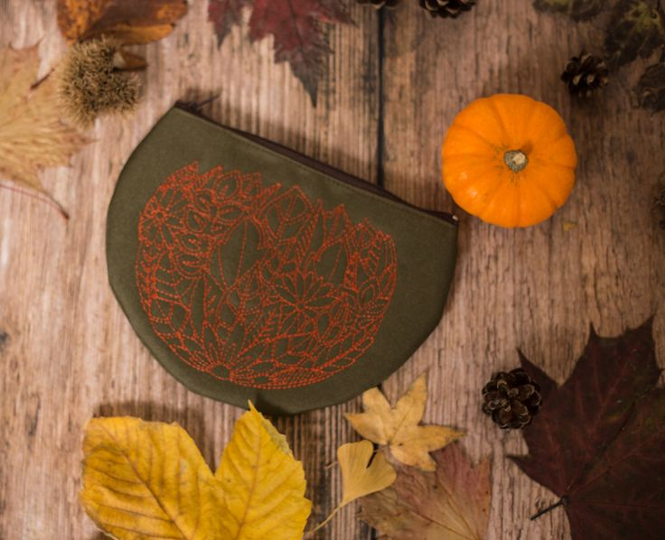 Embroided Pouch for your makeup. Army Green. Fall Accessory.