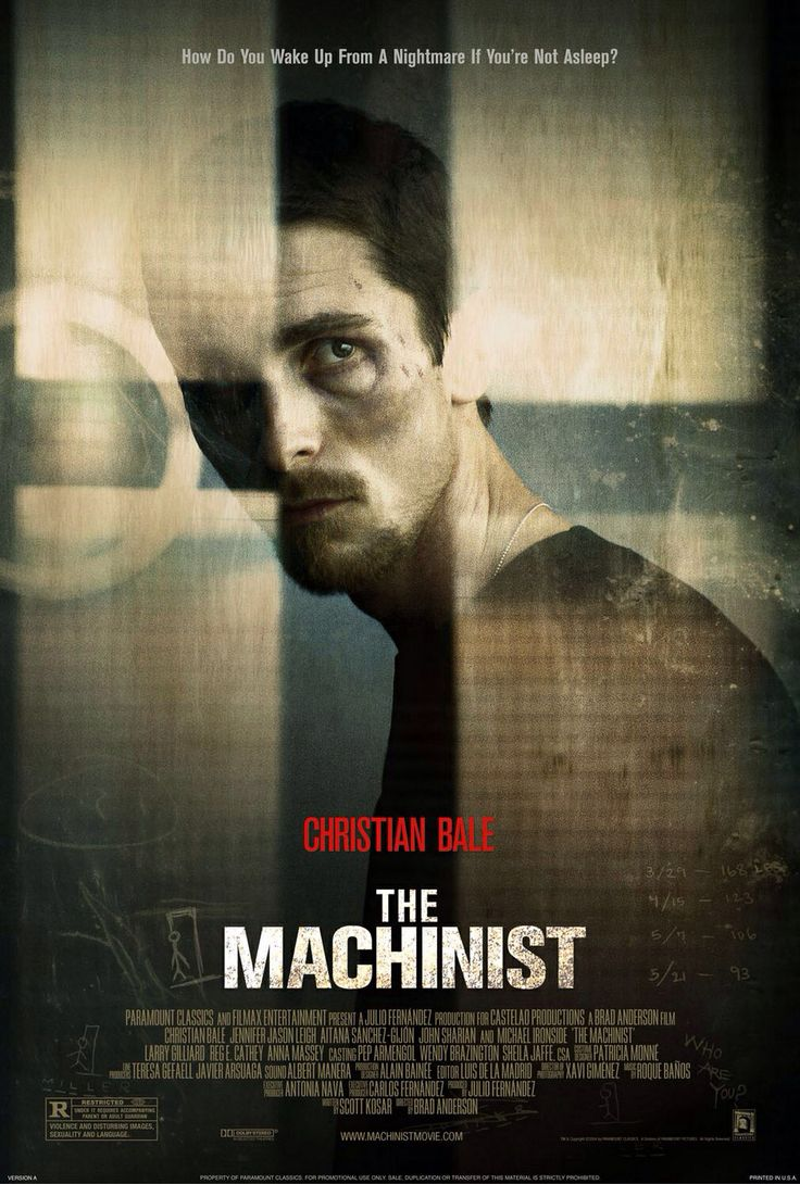 The Machinist 2004. Incrível a Capacidade de Christian Bale de emagrecer e ganhar corpo com facilidade. Este filme é o extremo da magreza dele, e pensar que o filme seguinte foi Batman Begins...