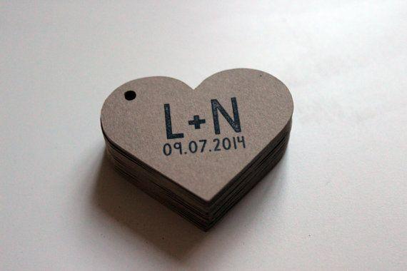 Corazón etiquetas personalizadas con las por ModernTypography