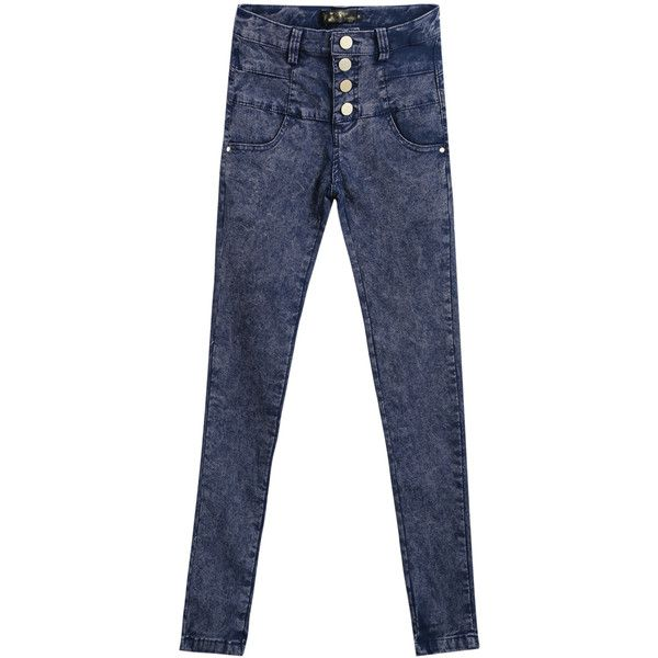 SheIn(sheinside) Blue High Waist Buttons Denim Pant (30 CAD) ❤ liked on Polyvore featuring jeans, sheinside, blue, button fly jeans, high rise jeans, long jeans, highwaisted jeans and denim skinny jeans