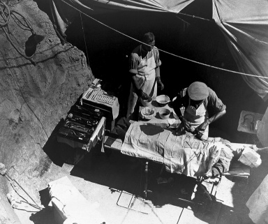 First World War field surgery in the Dardanelles, Turkey, 1915.